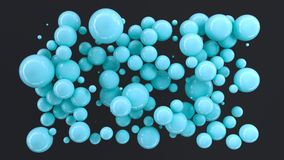 Blue spheres of random size on black background. Abstract background with circles. Cloud of circles in front of wall. 3D rendering illustration Royalty Free Illustration