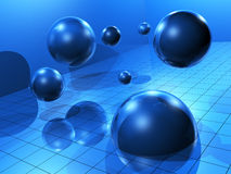Blue spheres on space Royalty Free Stock Image