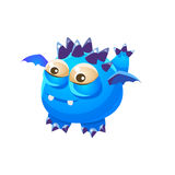Blue Spiky Fantastic Friendly Pet Dragon With Tiny Wings Fantasy Imaginary Monster Collection Stock Photography
