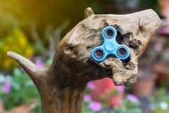Blue spinner hand on stump. Stock Image
