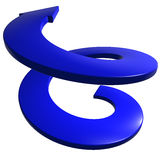 Blue spiral arrow 3D. On white background Royalty Free Stock Images