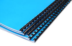 Blue Spiral bound note books Stock Photos