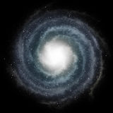 Blue spiral galaxy against black space. And stars in deep outer space Royalty Free Stock Photos