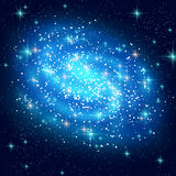 Blue Spiral Galaxy with Shining Stars Royalty Free Stock Photography