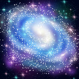 Blue Spiral Galaxy with Shining Stars. Stock Photography