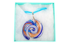 Blue spiral glass pendant. Stock Photos