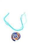 Blue spiral glass pendant. Royalty Free Stock Photography