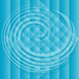 Blue spiral over background. Blue spiral over stripped and checked background and rhombus Royalty Free Stock Image