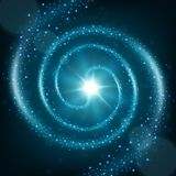 Blue spiral particle trail background Royalty Free Stock Photography
