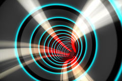 Blue spiral with red light Stock Photography