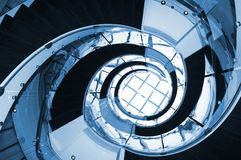 Blue Spiral staircase. Office stairs ascending Royalty Free Stock Photos