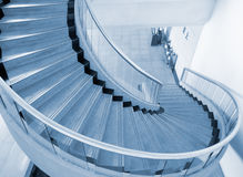 Blue spiral Stairs Stock Photo
