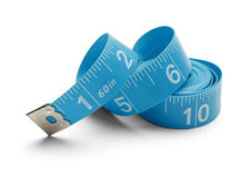 Blue Spiral Tape Measure Royalty Free Stock Images