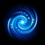 Blue Spiral Vortex. With Stars. Illustration on black background Royalty Free Stock Photos