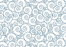 Blue Spiral on white Vector Background.Oriental Style Teal  Swirl seamless repeating pattern. Stock Images