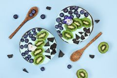 Blue Spirulina and Berry Smoothie Bowl with Blueberries Kiwi and Chocolate stock image