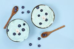 Blue Spirulina and Berry Smoothie Bowl with Fresh Fruit stock photos