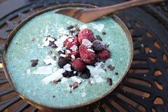 Blue spirulina smoothie bowl breakfast Stock Images