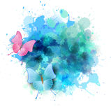 Blue splash with butterflies Royalty Free Stock Images
