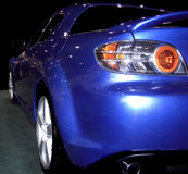 Blue Spoiler. Blue sportscar from the rear Stock Photos