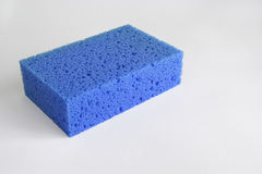 Blue sponge. Isolated in a white background royalty free stock image
