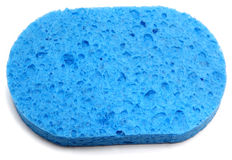 Blue Sponge. Over white with shadow Stock Photo