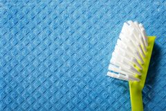 Blue sponge background and brush Stock Images
