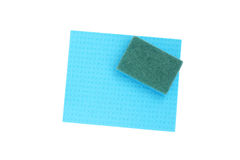 Blue sponge and cloth for cleaning. Stock Image