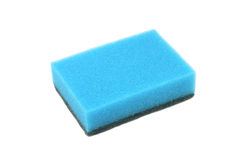 Blue sponge for washing dishes Royalty Free Stock Photos