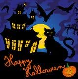 Blue spooky house 03 stock illustration