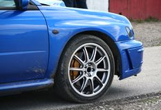 Blue sport car Stock Images