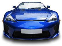 Blue sport car. Modern blue sport car against white background stock image