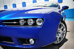 Blue sport car. Close up photo Royalty Free Stock Photography