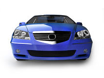 Blue sport car front view Royalty Free Stock Images