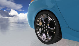 Blue sport car on thin ice , rear wheel Stock Image