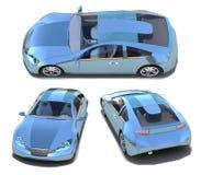 Blue sport cars set Royalty Free Stock Image
