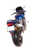 Blue sport motorbike. Back view. Stock Images