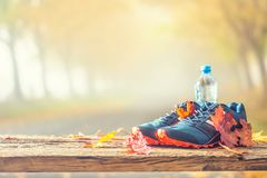 Blue sport shoes and water laid on a wooden board. royalty free stock photos