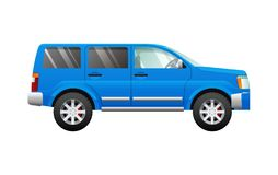Blue Sport Utility Car in Simple Cartoon Style. Blue sport utility car in cartoon style illustration. Isolated four-wheeled vehicle in flat design. Fast mean of Stock Photography