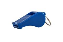Blue sport whistle  on white Royalty Free Stock Photo