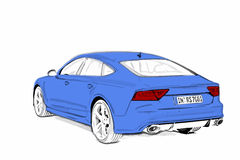 Blue Sportcar Sketch. Blue sportcar from scratch. Sketched in PS and vectorized in AI Stock Photography