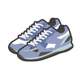 Blue sportive footwear. Vector illustration of blue colored sportive sneakers isolated on white Stock Photo