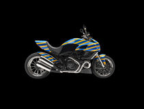 Blue sports bike with yellow stripes Stock Image