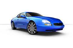 Blue sports car. 3D render of sports car Royalty Free Stock Photo