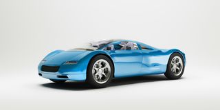 Blue sports car. Metallic blue sports car on a neutral background Stock Illustration