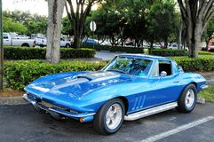 Blue sports car. Metallic blue Corvette parked in a parking lot in South Florida Stock Photography