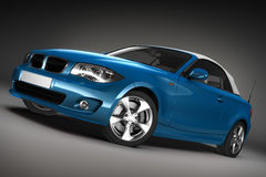 Blue Sports car.  3d render Stock Photos