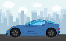 Blue sports car in the background of skyscrapers in the afternoon. Vector illustration Royalty Free Stock Photography