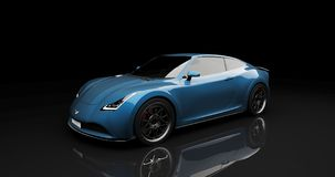 Blue sports car on black background. Photorealistic 3d render, generic design, non-branded Stock Photo