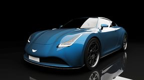 Blue sports car on black background. Photorealistic 3d render, generic design, non-branded Royalty Free Stock Photos
